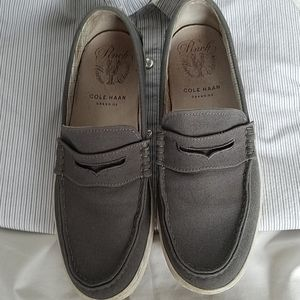 Mens 's COLE HAAN Gray Canvas Loafers Size 10